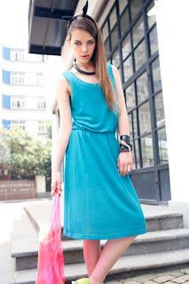 Netted Design Blue Tank Dress