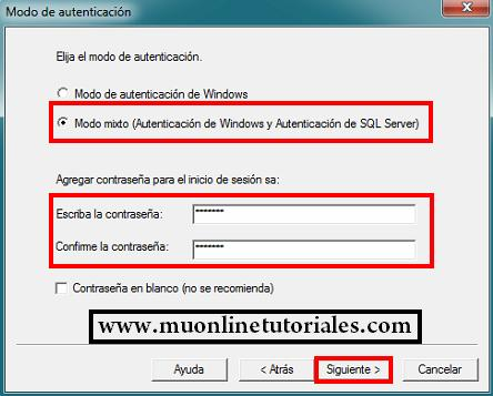Ingresando un password seguro para el sql