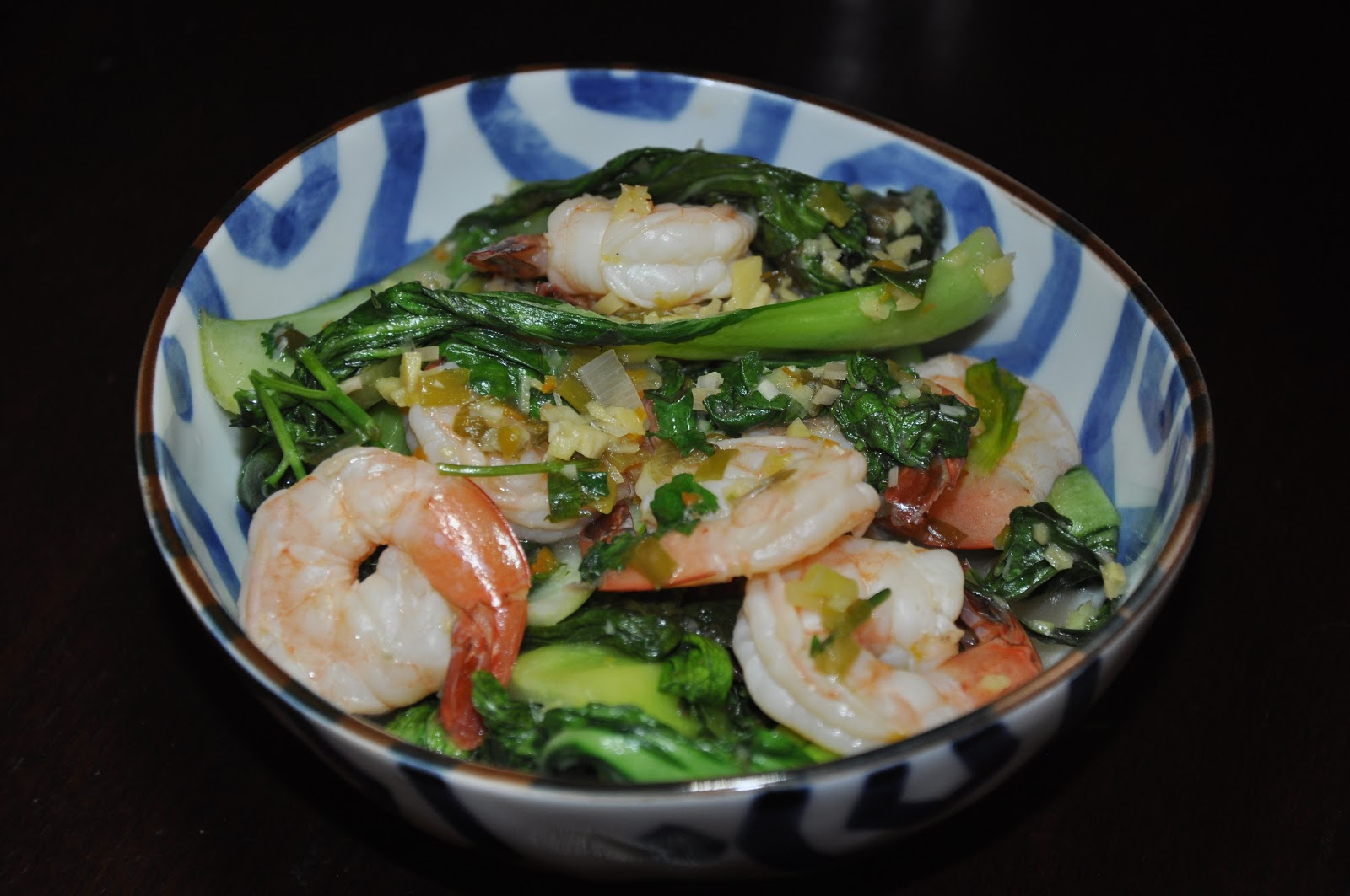 Slice of Rice: Nigel Slaters's Shrimp with Asian Greens