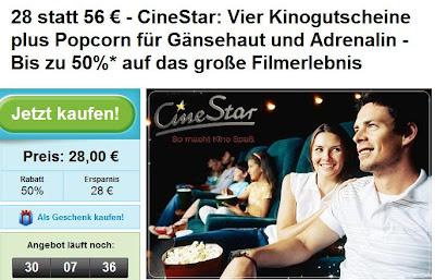 Groupon: 4 Kino-Gutscheine inklusive 75g Popcorn für 28 Euro statt 56 Euro