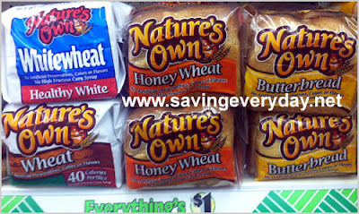 Natures Own Bread = $.45 at the Dollar Tree After Coupon