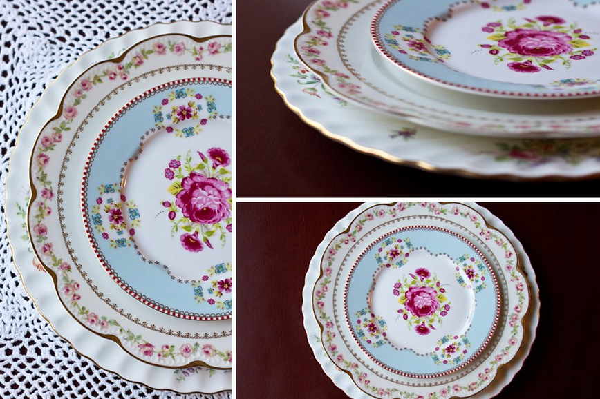 using mismatched vintage china for wedding table