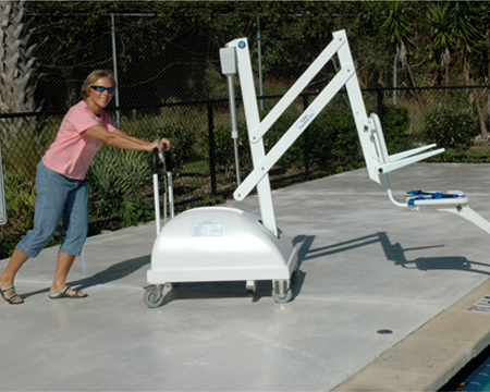 Swimming pool spa and boat access universal design for accessible homes for Hydraulic chair lift for swimming pool