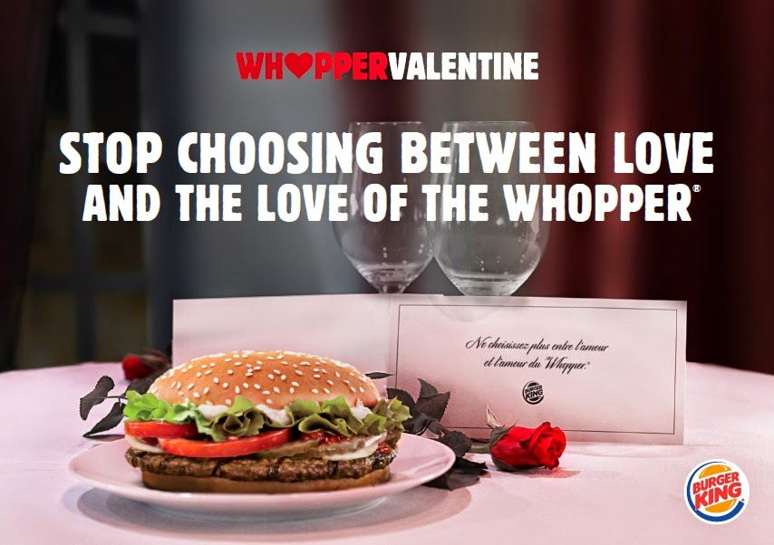 Whopper Valentine. Would you take your fiancee to a fast-food on Valentine's Day ?