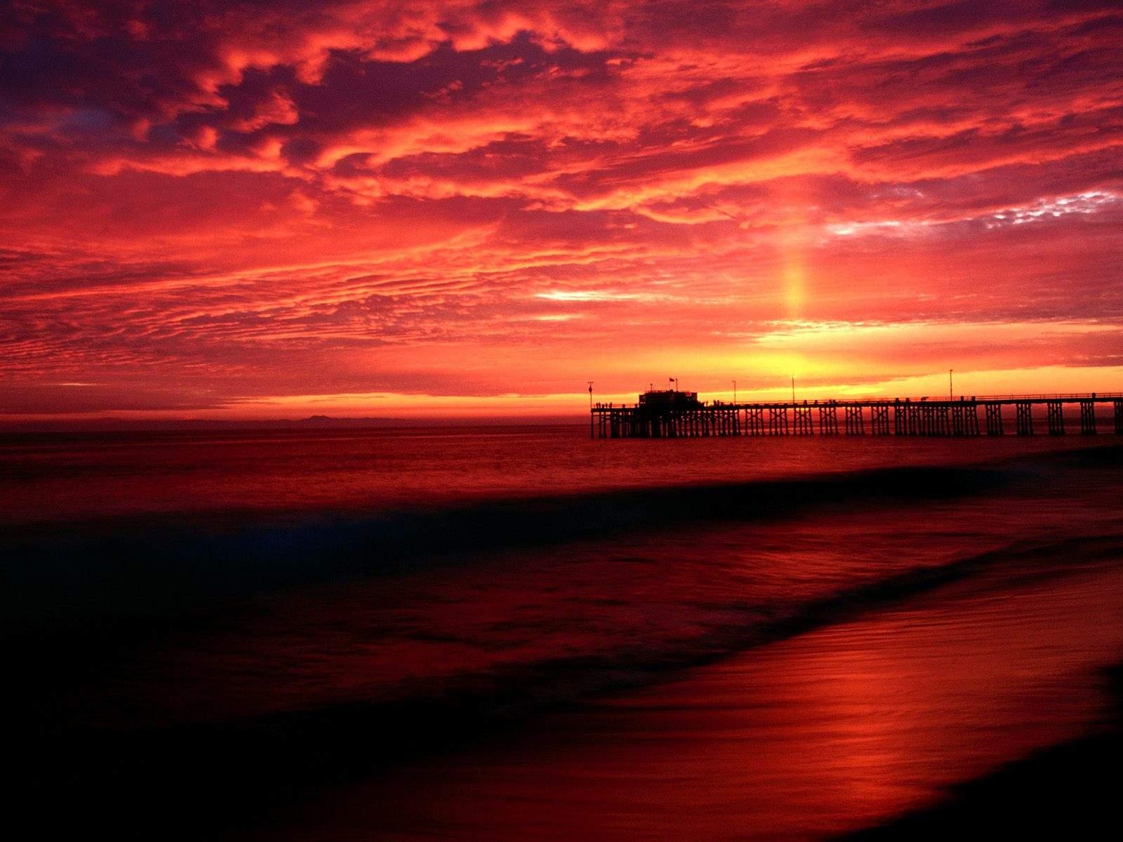 California Beaches Sunset Pier Desktop Wallpaper 1600 X 1200
