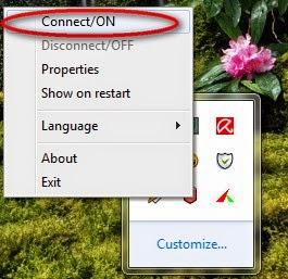 Nếu icon Hotspot Shield ở thanh taskbar là màu đỏ thì hãy turn on Hotspot Shield bằng cách right click vào icon Hotspot Shieldchọn Connect/On
