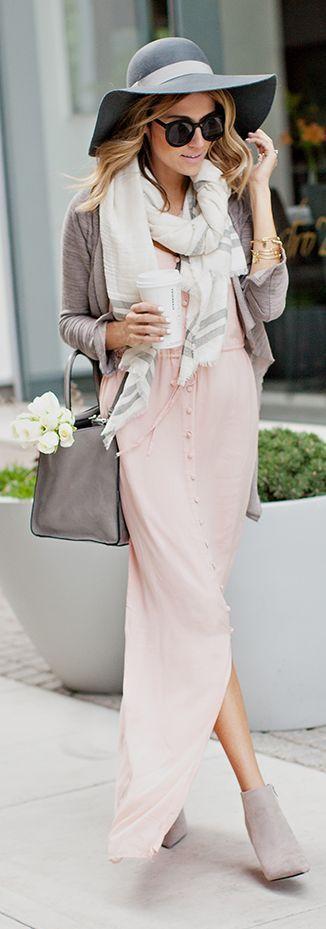 pink fall maxi dress