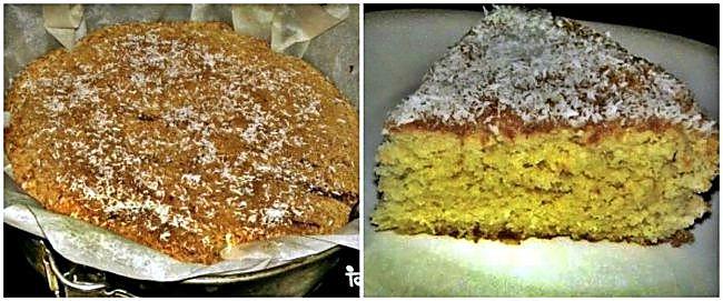 Preparación del bizcocho de coco y mermelada