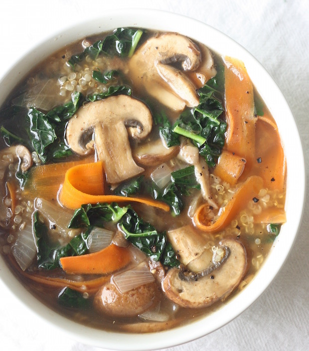 Five-Spice Quinoa Soup with Mushrooms & Kale recipe by SeasonWithSpice.com