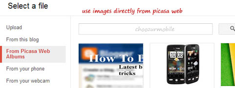 Use your own Picasa Web Album uploaded images
