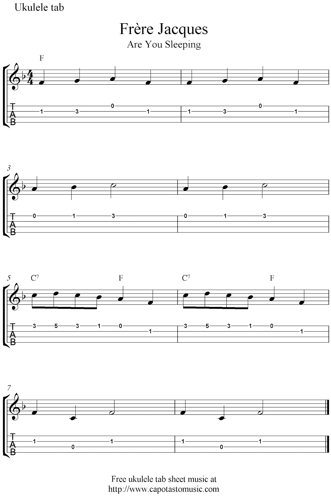 Frere Jacques Guitar Chords