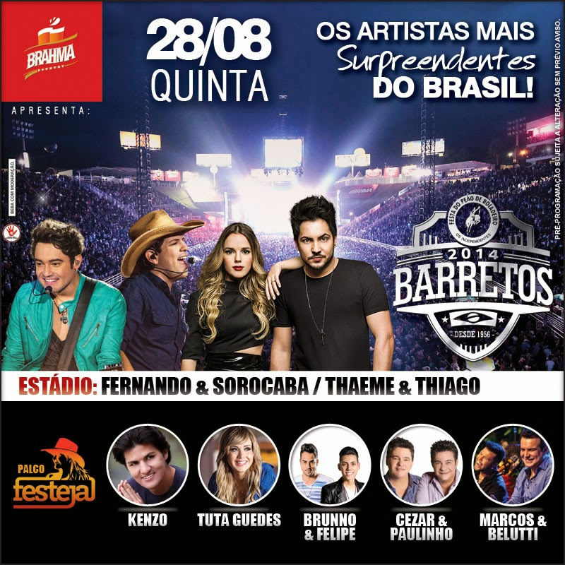 Programa��o da 59� Festa do Pe�o de Barretos 2014 - Dia 28/08/2014