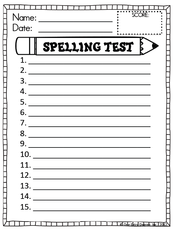 Make My Own Spelling Worksheet : Free spelling test template one extra degree