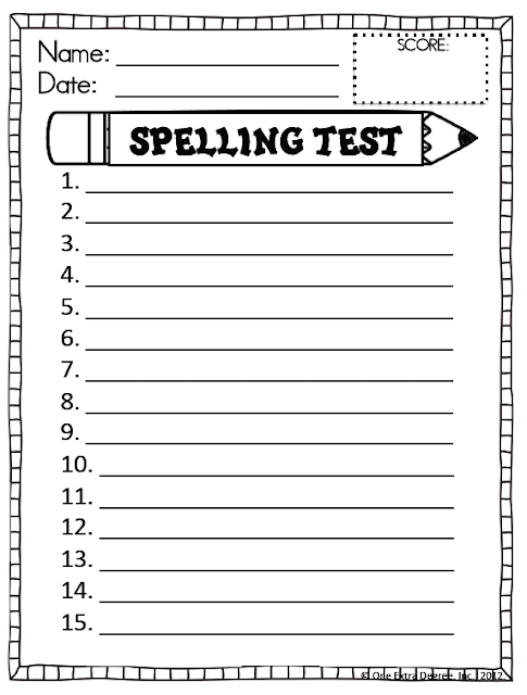 Spelling Test Paper For Every Week 15 Words And Dictation Lines ...