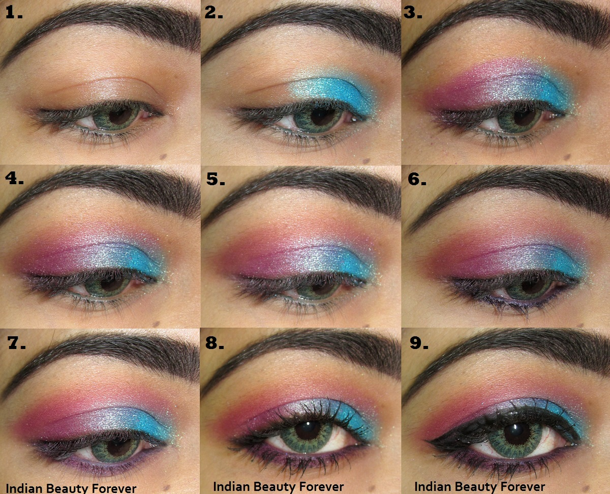 Pink Blue colorful Eye makeup Tutorial with steps