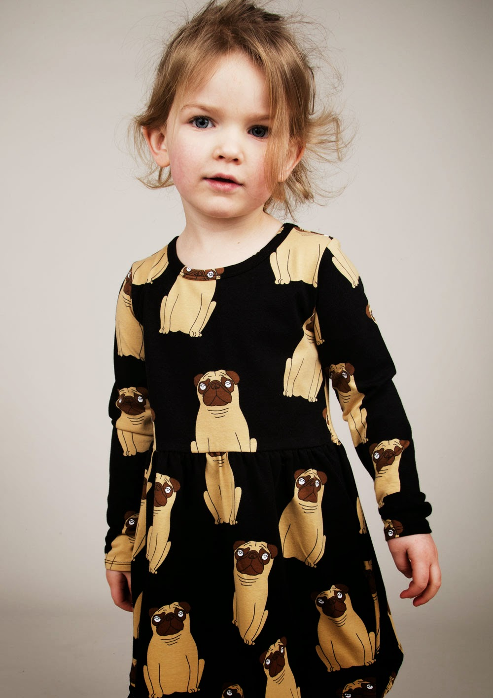 Dress with french bulldog print by Mini Rodini for Autumn/Winter 2014 kids fashion collection