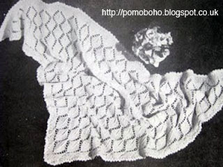 Free 1940's Knitting pattern for a  Leaf Shawl