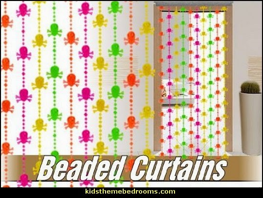 Blacklight beaded curtains