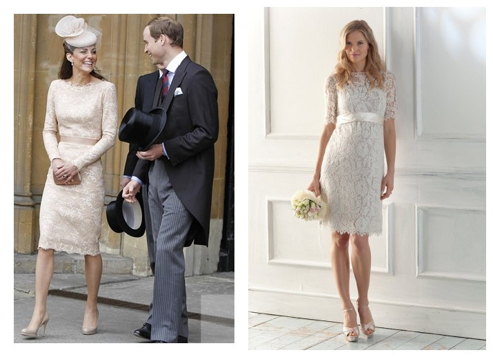Kate Middleton in Sarah Burton nude lace dress