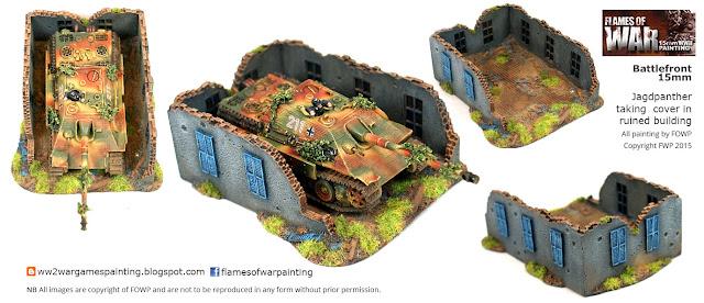 Flames of war Battlefront Jagdpanther-in-ruined-house Painting by Flames of war painting