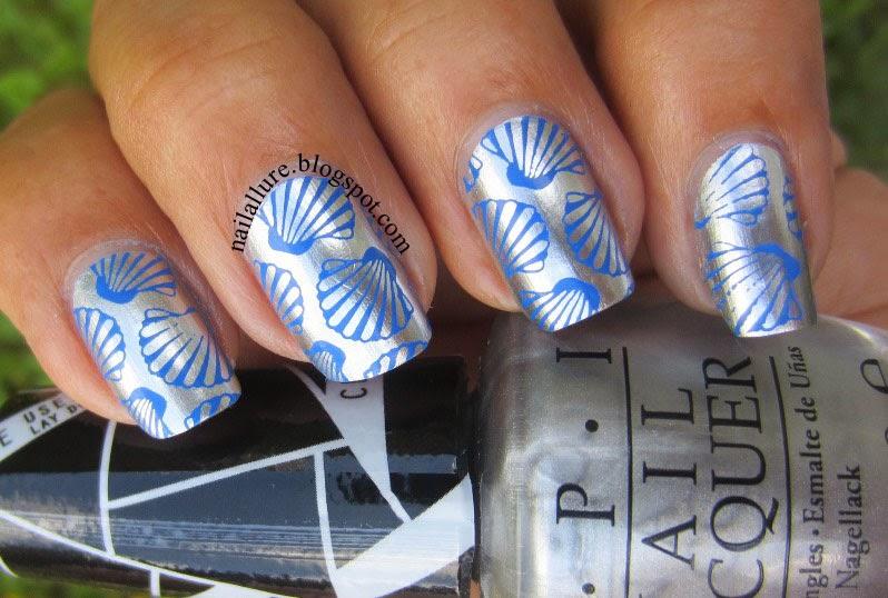 Blue Seashells stamping nail art on Chrome polish
