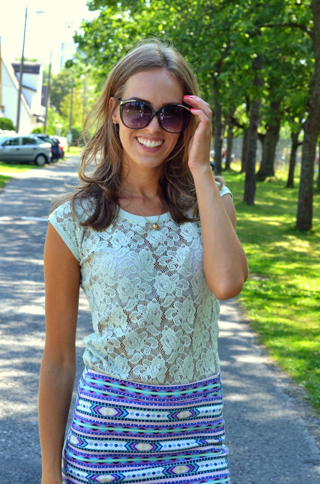 hm skirt zara shirt aldo sunglasses outfit