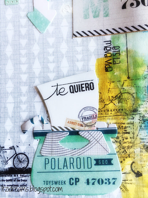 Watercolor Peerless, lay out con teniques Mix Media, sellos Lora Bailora, Sellos Yoy scrap