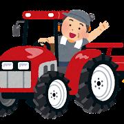 トラクターに乗る農家のおじさんのイラスト