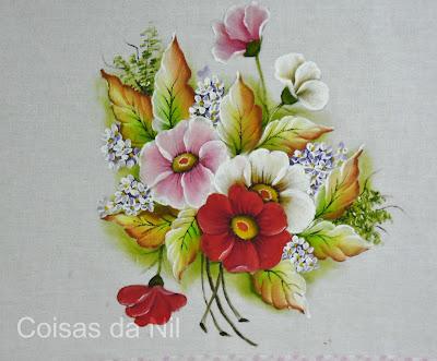 pintura de flores silvestres e folhas secas