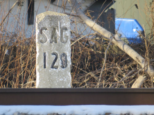 Pere Marquette Railroad mile marker 129