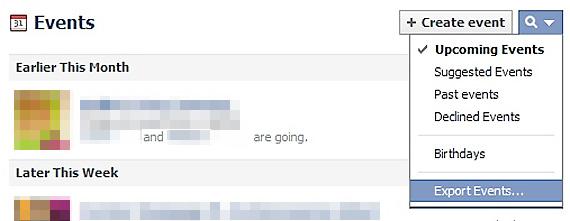 """Pentru a exporta evenimentele Google, alegeti optiunea """"Export Events..."""""""