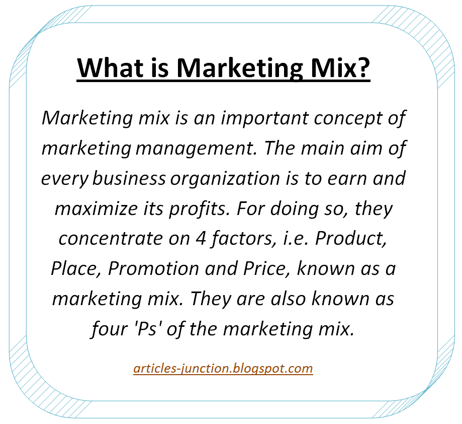 Articles Junction: 4 P's of Marketing Mix - Elements of ... Marketing Definition