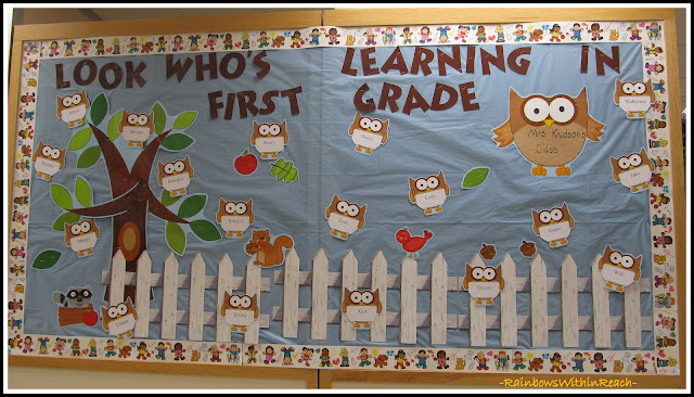 photo of: Back to School Bulletin Board Owl Theme in First Grade
