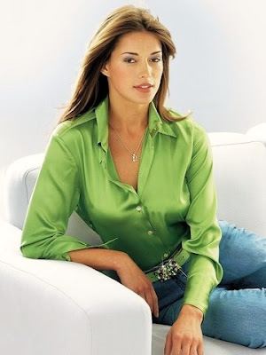 Green Satin Blouse