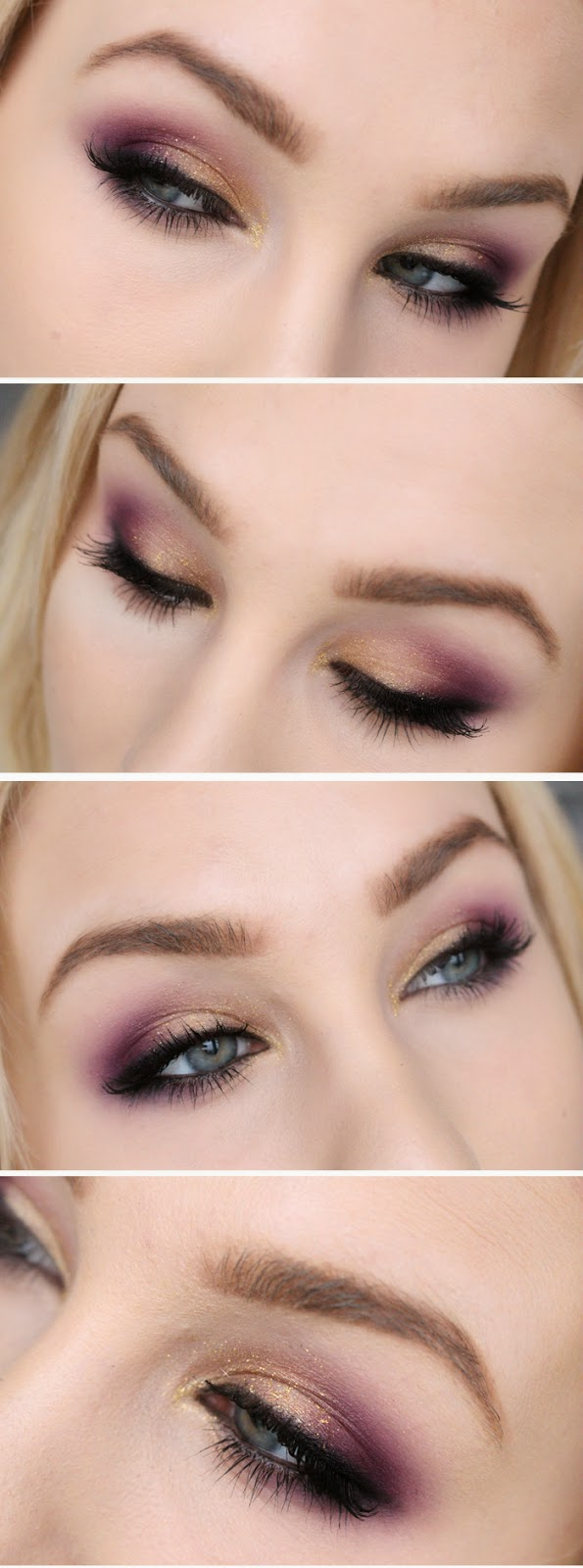 Today's makeup - Gold, purple and glitter! + Tutorial