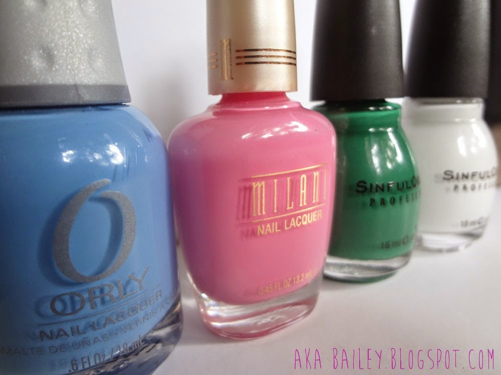 ORLY Snowcone, Milani Tip Toe Pink, Sinful Colors Envy, Sinful Colors Snow Me White