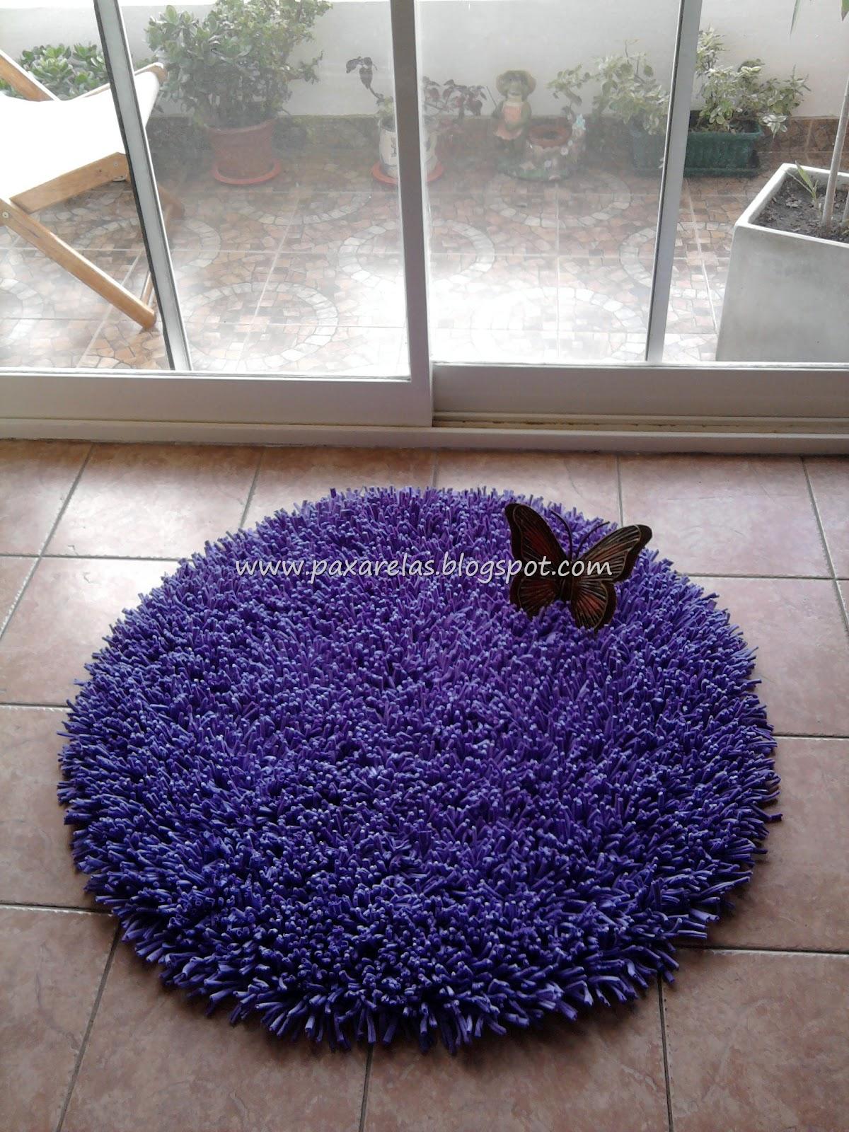 Alfombra circular violeta lisa for Alfombra nudos