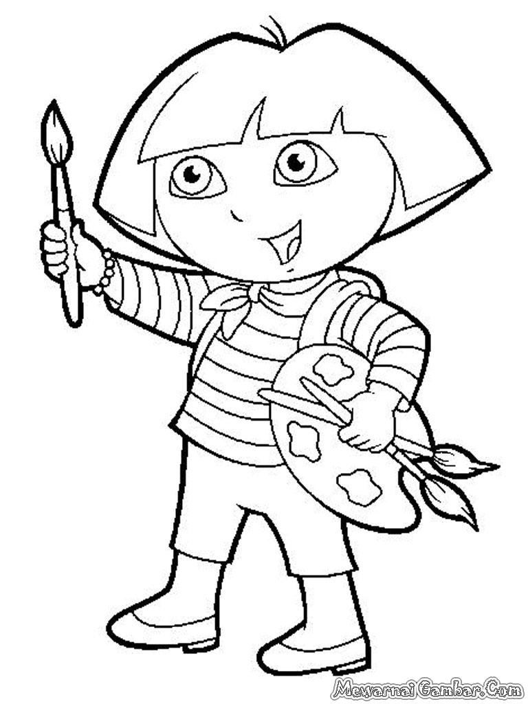 Mewarnai Dora The Explorer   Mewarnai Gambar
