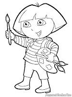 Dora The Explorer Belajar Mewarnai Gambar Dengan Kuas