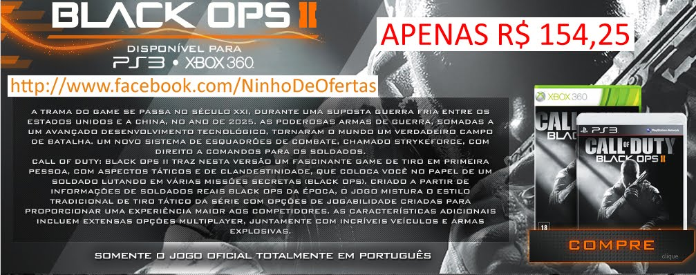 Game Call of Duty - Black Ops II PS3/Xbox, POR APENAS R$ 154,25