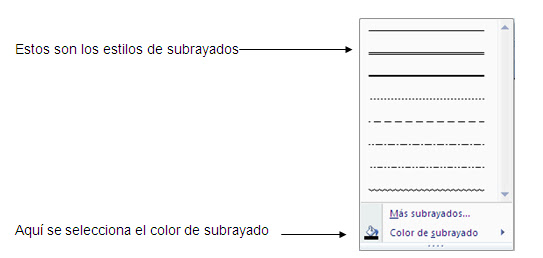 subrayados de microsoft word 2010, seleccionar color de subryado de microsoft word 2010,