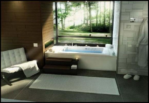 Diseño unico y moderno, romántica bañera de hidromasaje en el baño ...