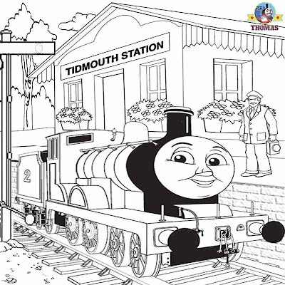 Big blue tank engine Edward and Thomas train railway pictures to color and print activities for kids