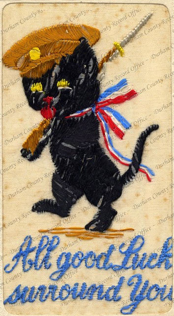 Embroidered postcard of a lucky black cat (D/DLI 7/913/256)