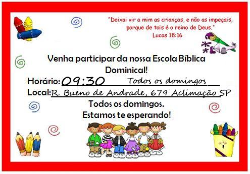 ESCOLA BIBLICA DOMINICAL INFANTO-JUVENIL