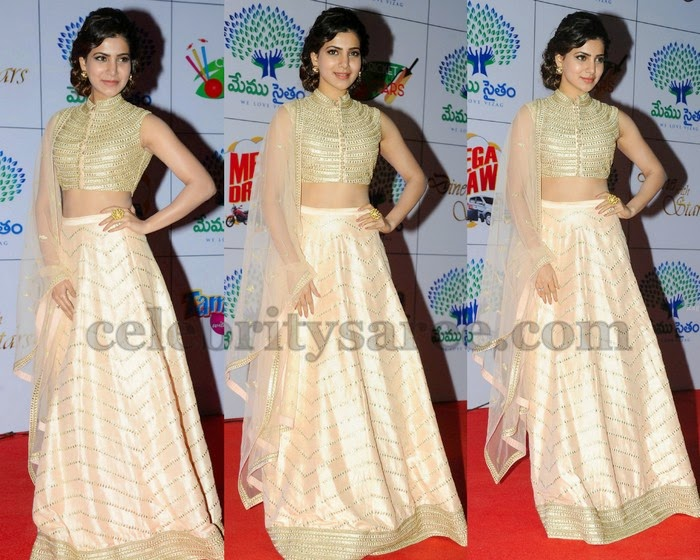 Samantha Off White Lehenga