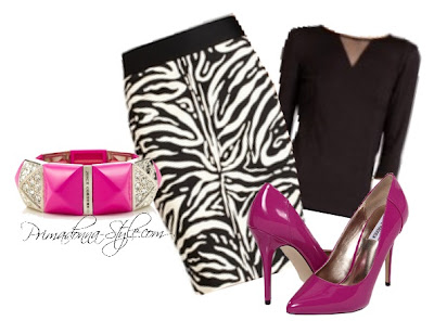 The Limited High Waist Zebra Print Pencil Skirt Juicy Couture Pyramid Stretch Bracelet Steve Madden P-Caroll Forever 21 Paneled Mesh Insert Top