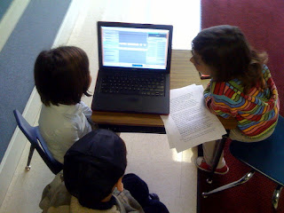 The first graders are eager to create their own podcast with Miss Silvia Tolisano!