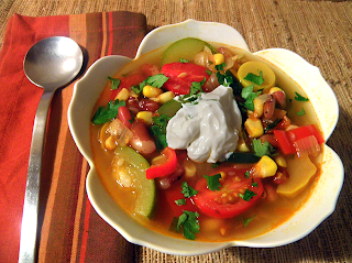 Bowl of Stew with Dollop of Sour Cream