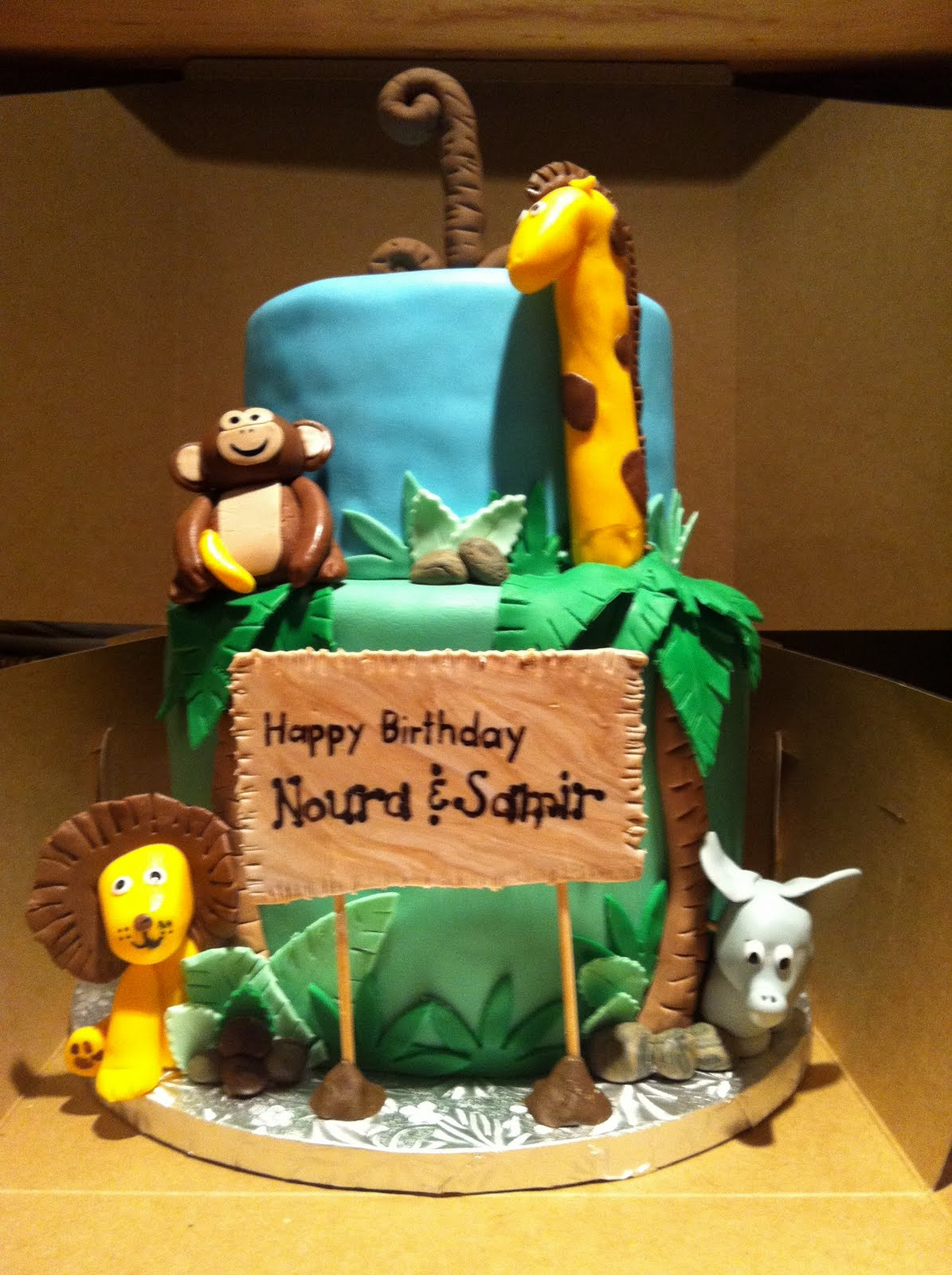 Safari Themed First Birthday Cake For Twins, Noura U0026 Samir.
